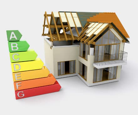 House under construction with energy ratings